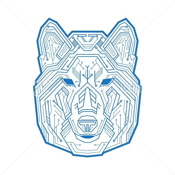 Abstract head of the dog, wolf or coyote consisting of microelectronic circuits and dots. Vector illustration isolated on white background - PrintStocker.com