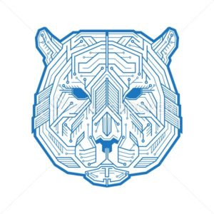 Abstract head of the tiger or bear consisting of microelectronic circuits and dots. Vector illustration isolated on white background - PrintStocker.com