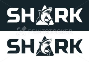 Angry black or tiger shark silhouette mascot character  vector illustration isolated on white background - PrintStocker.com
