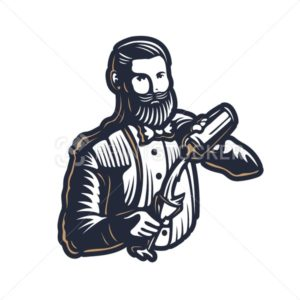 Bearded barmen, barkeeper or bartender in work silhouette with shaker logo design on white background – Hand drawn man with beard and mustache vector illustration - PrintStocker.com