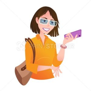 Beautiful young woman with mobile phone stands in casual clothes and handbag on her shoulder.  Vector illustration - PrintStocker.com
