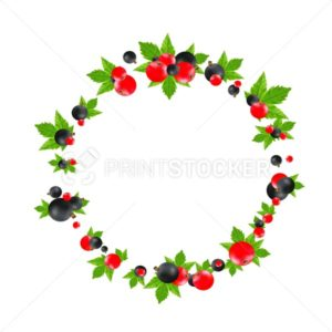 Black and red currant round frame isolated on white background - PrintStocker.com