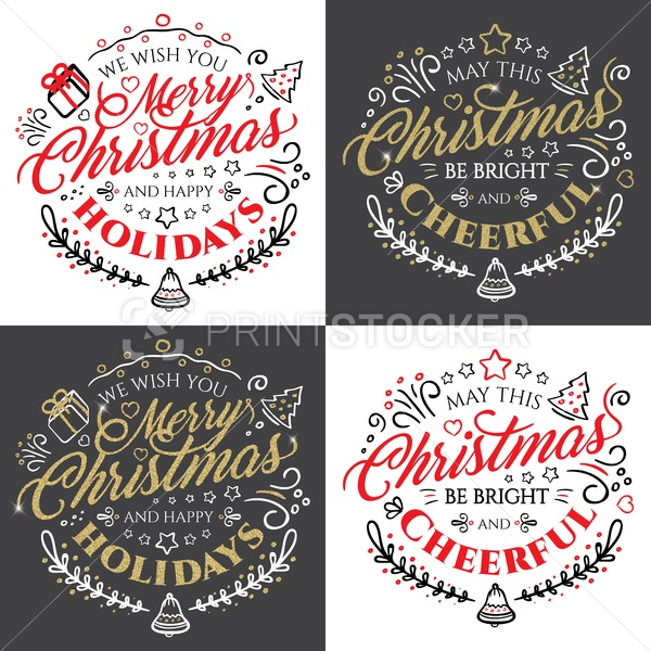 Calligraphic lettering for Merry Christmas and Happy New Year with golden glitter effect on dark background - PrintStocker.com