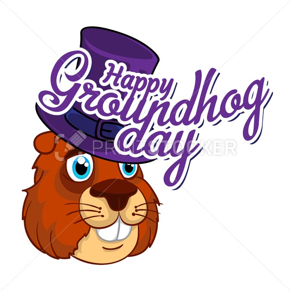 Cartoon Old Groundhog in a hat and the inscription. Vector illustration to the Groundhog Day. - PrintStocker.com