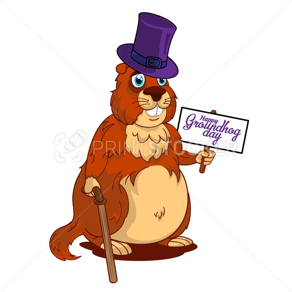 Cartoon Old Groundhog in a hat with cane and sign with text: Happy Groundhog Day - PrintStocker.com