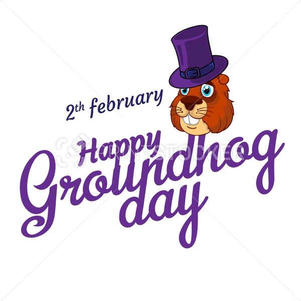 Cartoon Old Groundhog in hat and the inscription: 2 february. Happy Groundhog Day - PrintStocker.com