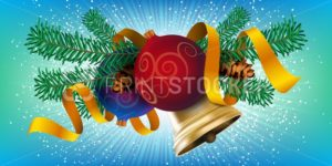 Christmas decor element design, realistic new year tree holiday decoration with Christmas balls, golden bell and red ribbon - PrintStocker.com
