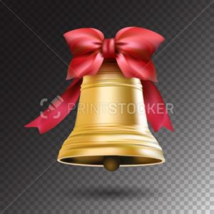 Christmas golden bell with red ribbon and a bow isolated on transparent background - PrintStocker.com