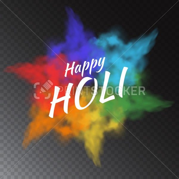 Colorful vector powder paint clouds isolated on transparent background for greeting cards to Happy Holi – indian festival of colors - PrintStocker.com