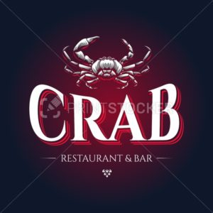 Crab seafood restaurant or bar business company logo template Vector mascot silhouette in old engraving illustration style Retro vintage emblem isolated on black background - PrintStocker.com