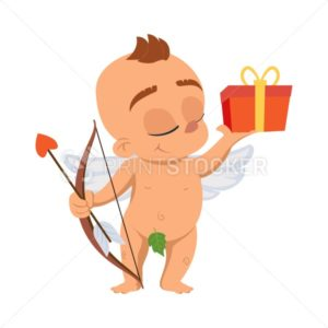 Cupid angel love character vector illustration for Valentine day or wedding dating smiling naked Amur Eros greek mythology god or cherub baby with gift box and arrow emoji - PrintStocker.com