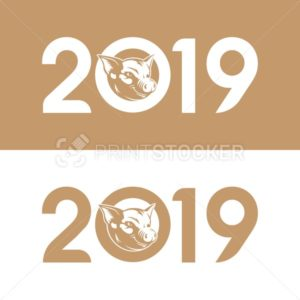 Cute Pork Zodiac Sign or pig silhouette vintage emblem or Chinese symbol of the 2019 Happy New Year isolated on white background - PrintStocker.com