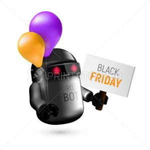Cute black flying robot with pink and orange balloons holding a sign in his hand - PrintStocker.com