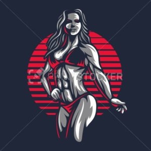 Fitness bikini woman or girl figure silhouette in old engraving vector art illustration or retro vintage emblem stamp isolated on black background - PrintStocker.com