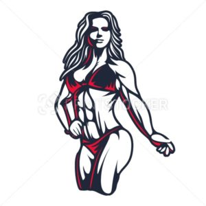 Fitness bikini woman or girl figure silhouette in old engraving vector art illustration or retro vintage emblem stamp isolated on white background - PrintStocker.com