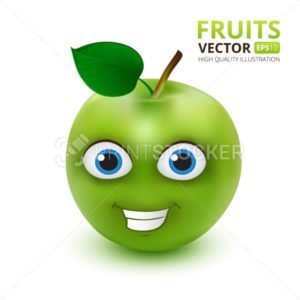 Funny and cute Green Apple cartoon mascot character vector illustration isolated on white background - PrintStocker.com