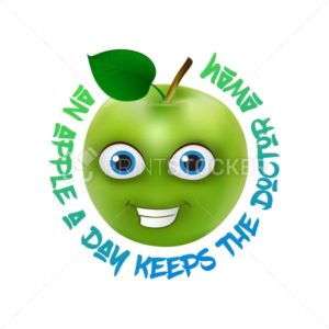 Funny and cute Green Apple cartoon mascot character with lettering One apple a day keeps the doctor away - PrintStocker.com
