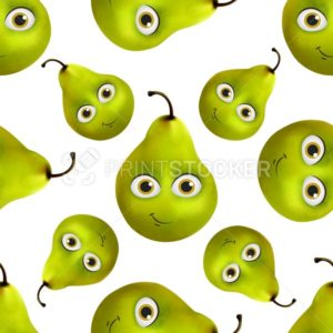 Funny and cute Pear cartoon vector mascot character seamless pattern isolated on white background - PrintStocker.com