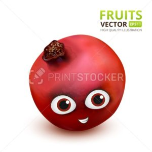 Funny and cute Pomegranate cartoon mascot character. Vector illustration isolated on white background - PrintStocker.com