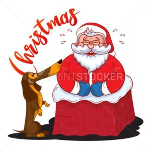 Funny cartoon Santa Claus stuck in the chimney and and brown Dachshund – symbol of the year - PrintStocker.com