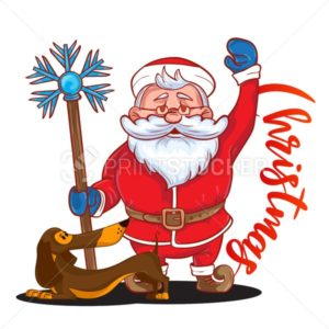 Funny cartoon Santa Claus with magic stick in his hand and brown Dachshund – symbol of the new year - PrintStocker.com