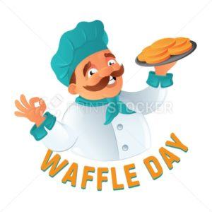 Funny mustachioed cook chef in the chef's hat with Belgian waffles on a plate to Happy Waffle Day. Cartoon vector illustration isolated on white background - PrintStocker.com