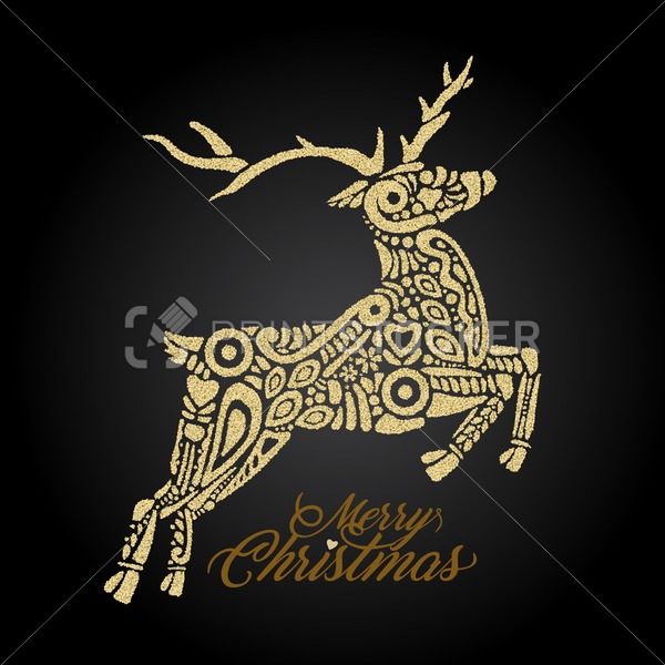 Golden silhouette of jumping forest or northern deer on black background and filled with decorative pattern with sign Merry Christmas - PrintStocker.com