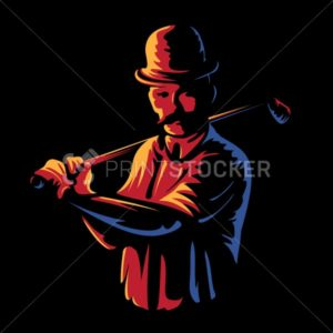 Golf player logo stamp or golfer man figure silhouette retro vintage emblem in old engraving vector art style color illustration isolated on black background - PrintStocker.com