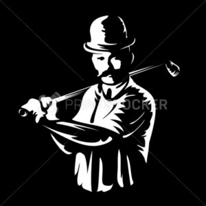 Golf player logo stamp or golfer man figure silhouette retro vintage emblem in old engraving vector art style white illustration isolated on black background - PrintStocker.com