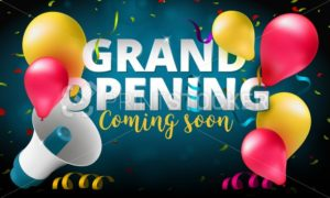 Grand Opening event invitation banner or poster design template - PrintStocker.com