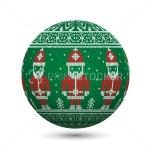 Green knitted christmas ball isolated on white background with Santa Claus and nordic ornament - PrintStocker.com