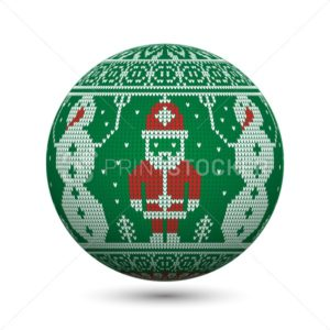 Green knitted christmas ball isolated on white background with Santa Claus and snowman on nordic ornament - PrintStocker.com