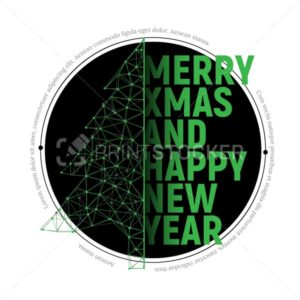 Green polygonal Christmas tree with text  for Merry christmas and happy new year 2018 greeting card, banner or sticker - PrintStocker.com