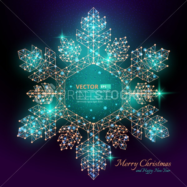 Green polygonal snowflake with flares for Merry christmas and happy new year 2018 with texture of starry sky or space universe - PrintStocker.com