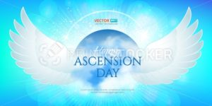 Greeting card or banner to Ascension day of Jesus Christ. Catholics and Anglican Christians Religious culture holiday - PrintStocker.com