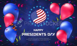Greeting card or banner with striped flag and balloons to Happy Presidents Day. Vector illustration to national american holiday - PrintStocker.com