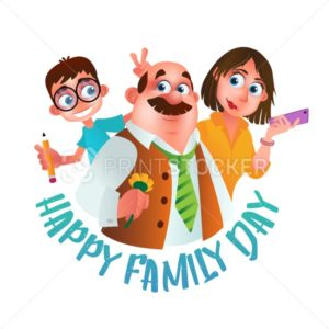 Greeting card or poster to Happy Family Day. Vector illustration of father, mother and son isolated on white background - PrintStocker.com