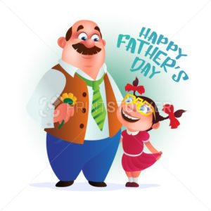 Greeting card or poster to Happy Father's Day. Dad with flower stands with his daughter. Vector illustration isolated on white - PrintStocker.com