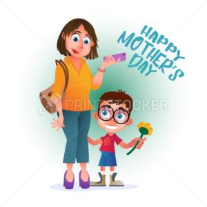 Greeting card or poster to Happy Mother's Day. Mom with phone stands with her son and flower. Vector illustration isolated on white - PrintStocker.com