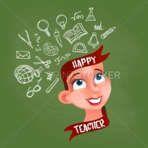 Greeting card or poster to Happy Teacher's day. Vector teacher's head with ribbon and mind map consisting of hand drawn school elements on blackboard - PrintStocker.com