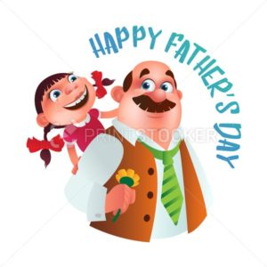 Greeting card to Happy Father's Day. Dad with flower holding on the back his daughter. Vector illustration isolated on white - PrintStocker.com
