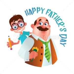 Greeting card to Happy Father's Day. Dad with flower holding on the back his son. Vector illustration isolated on white - PrintStocker.com