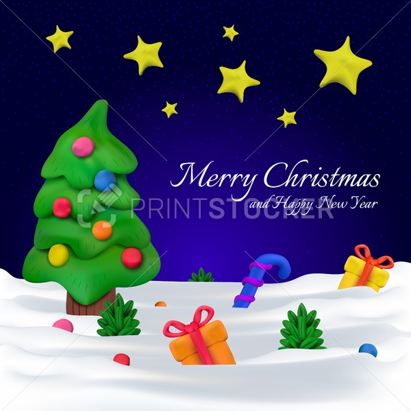 Handmade vector Plasticine greeting card or banner for Christmas and Happy New year - PrintStocker.com
