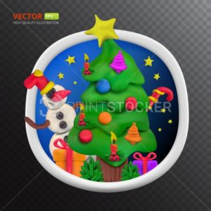Handmade vector Plasticine round greeting card for Christmas and Happy New year - PrintStocker.com