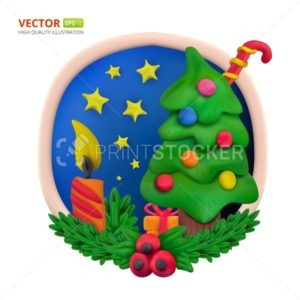 Handmade vector modeling clay round greeting card for Christmas and Happy New year - PrintStocker.com