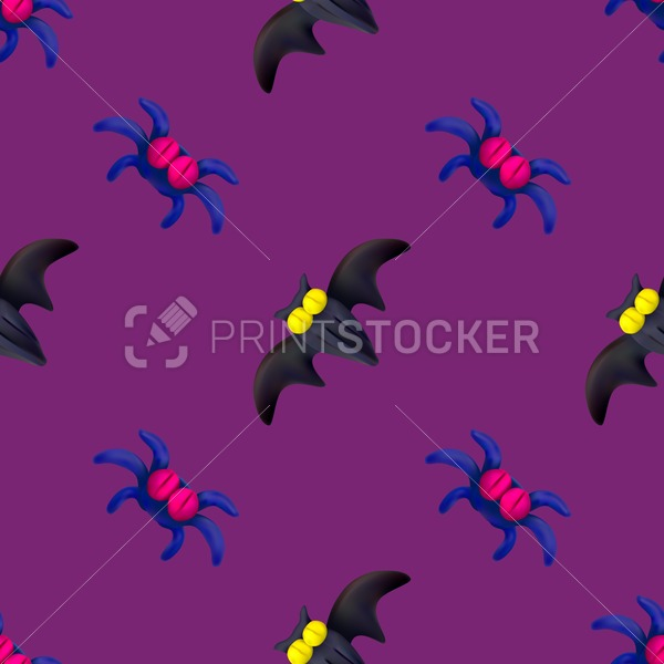 Handmade vector plasticine seamless pattern for Halloween isolated on pink background - PrintStocker.com