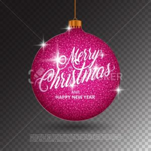 Hanging Christmas ball with sparkling metal glitter effect and Merry Christmas lettering isolated on transparent background - PrintStocker.com