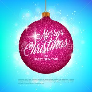 Hanging Christmas ball with sparkling metal glitter effect and Merry Christmas lettering on colorful background - PrintStocker.com