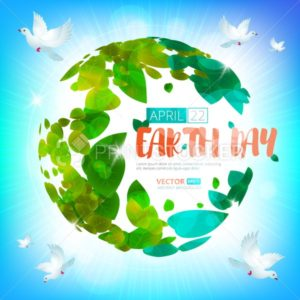 Happy Earth Day. Greeting card on 22 april. Vector earth globe with green leaves and birds - PrintStocker.com