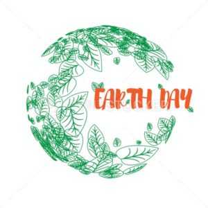 Happy Earth Day. Greeting card on 22 april. Vector earth globe with green leaves isolated on white background - PrintStocker.com